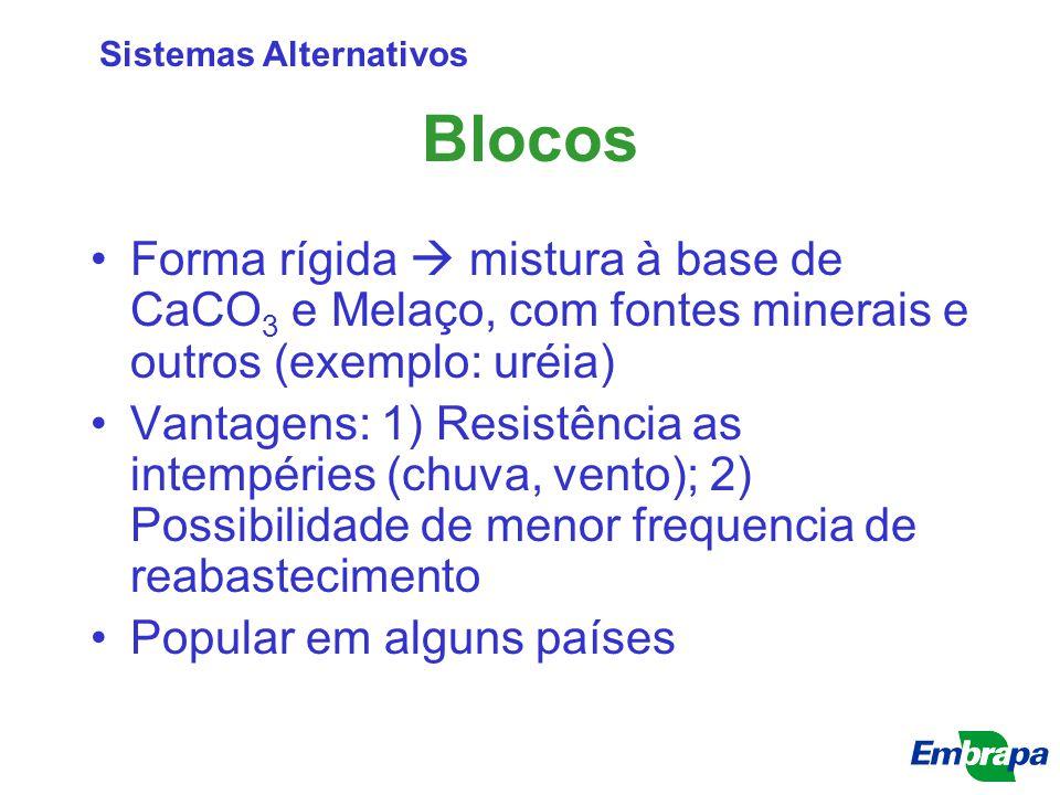 Blocos Forma rígida  mistura à base de CaCO 3 e Melaço, com fontes minerais e outros (exemplo: uréia) Vantagens: 1) Resistência as intempéries (chuva