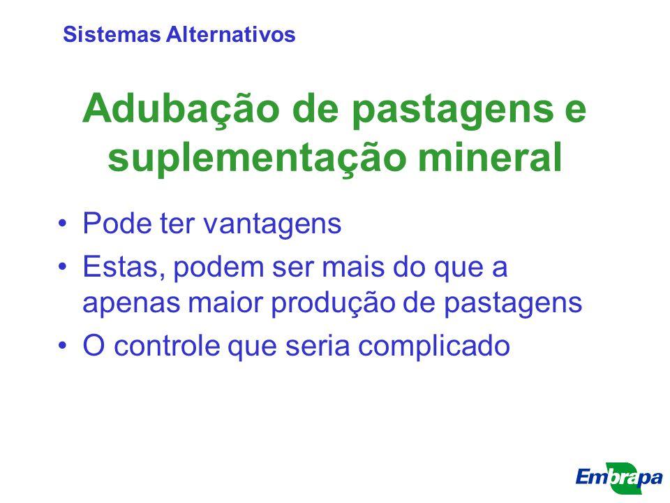 Adubação de pastagens e suplementação mineral Pode ter vantagens Estas, podem ser mais do que a apenas maior produção de pastagens O controle que seri
