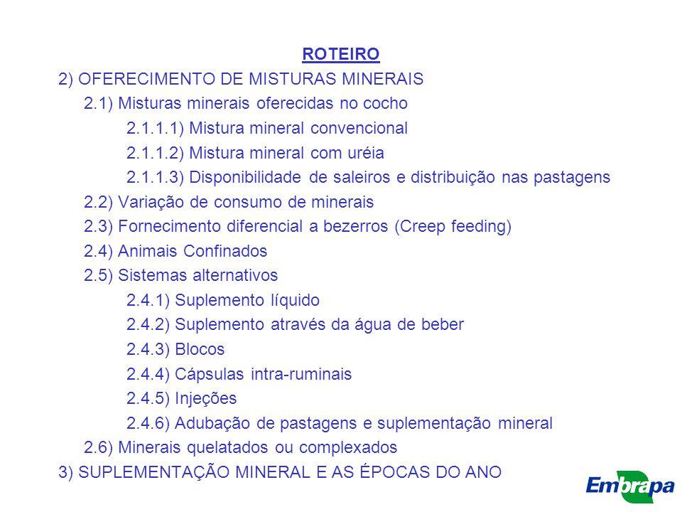 ROTEIRO 2) OFERECIMENTO DE MISTURAS MINERAIS 2.1) Misturas minerais oferecidas no cocho 2.1.1.1) Mistura mineral convencional 2.1.1.2) Mistura mineral