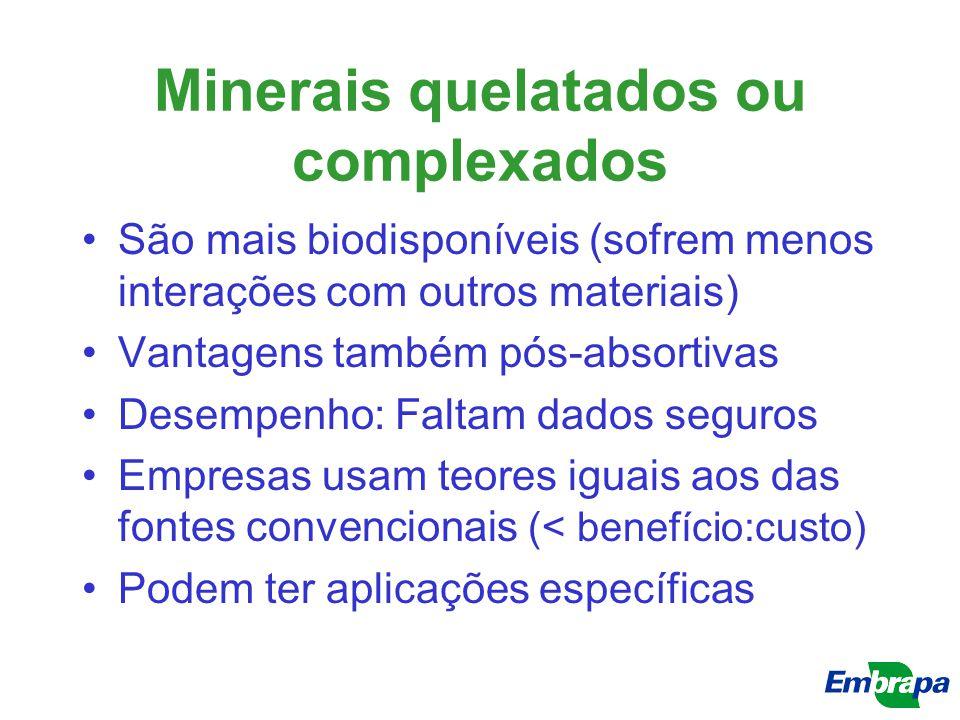 Minerais quelatados ou complexados São mais biodisponíveis (sofrem menos interações com outros materiais) Vantagens também pós-absortivas Desempenho: