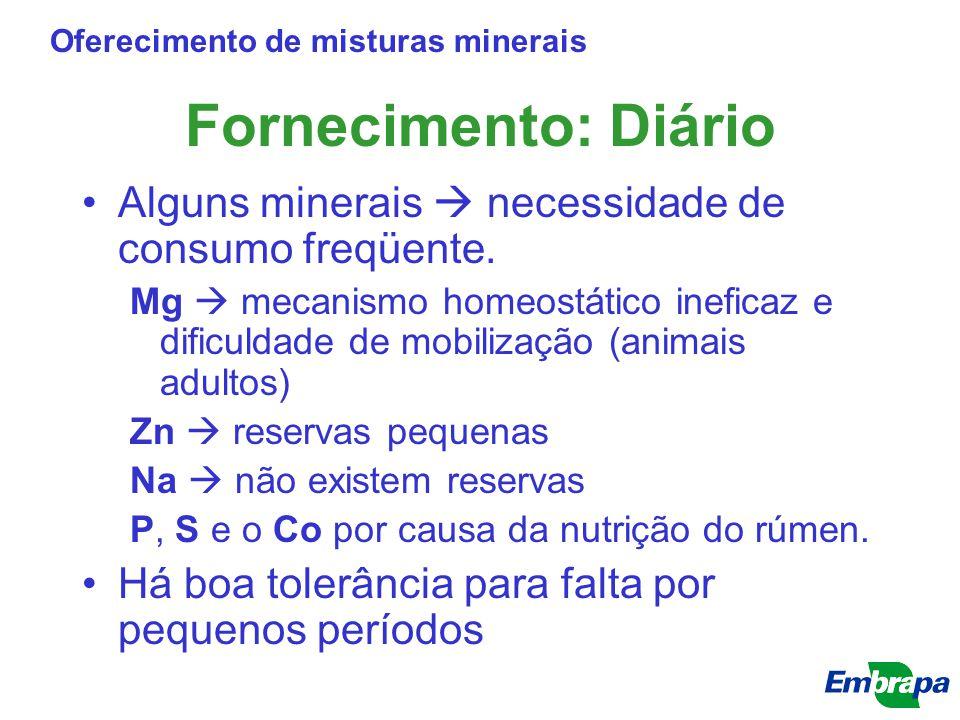 Fornecimento: Diário Alguns minerais  necessidade de consumo freqüente. Mg  mecanismo homeostático ineficaz e dificuldade de mobilização (animais ad