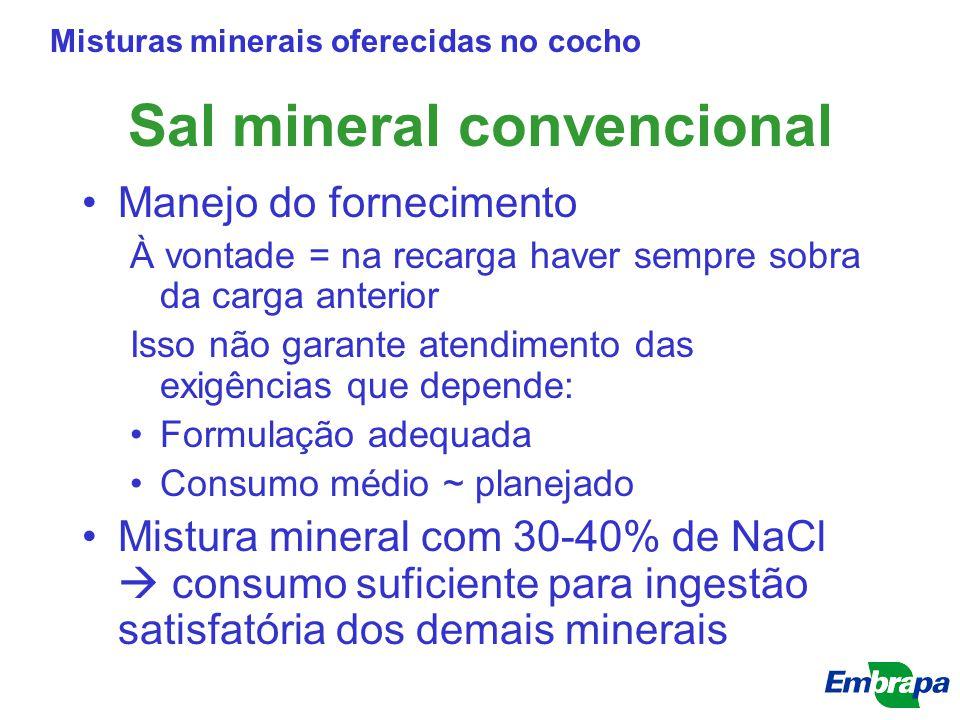 Sal mineral convencional Manejo do fornecimento À vontade = na recarga haver sempre sobra da carga anterior Isso não garante atendimento das exigência