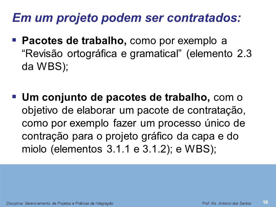 """Em um projeto podem ser contratados:  Pacotes de trabalho, como por exemplo a """"Revisão ortográfica e gramatical"""" (elemento 2.3 da WBS);  Um conjunto"""
