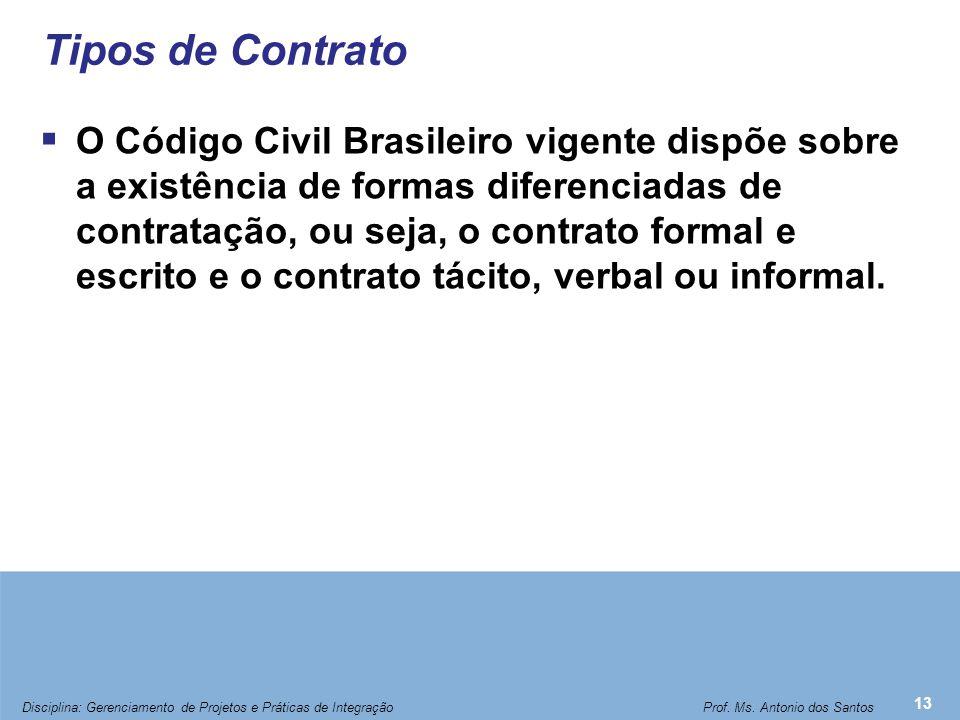Tipos de Contrato  O Código Civil Brasileiro vigente dispõe sobre a existência de formas diferenciadas de contratação, ou seja, o contrato formal e e