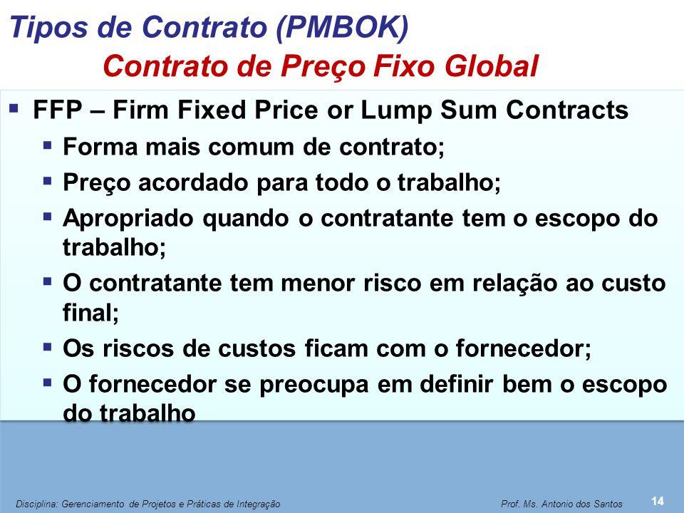 Contrato de Preço Fixo Global  FFP – Firm Fixed Price or Lump Sum Contracts  Forma mais comum de contrato;  Preço acordado para todo o trabalho; 