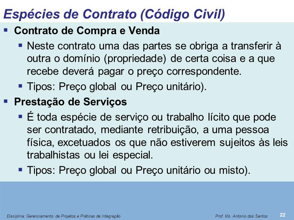 Espécies de Contrato (Código Civil)  Contrato de Compra e Venda  Neste contrato uma das partes se obriga a transferir à outra o domínio (propriedade