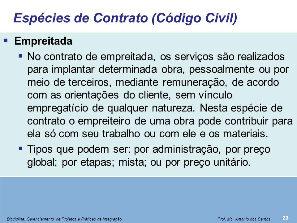 Espécies de Contrato (Código Civil)  Empreitada  No contrato de empreitada, os serviços são realizados para implantar determinada obra, pessoalmente