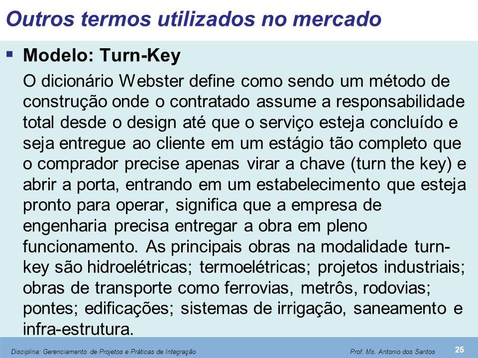 Outros termos utilizados no mercado  Modelo: Turn-Key O dicionário Webster define como sendo um método de construção onde o contratado assume a respo