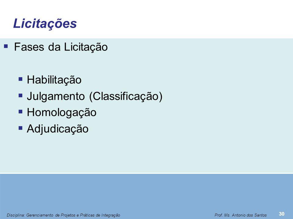Licitações  Fases da Licitação  Habilitação  Julgamento (Classificação)  Homologação  Adjudicação 30 Disciplina: Gerenciamento de Projetos e Prát