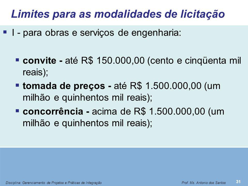 Limites para as modalidades de licitação  I - para obras e serviços de engenharia:  convite - até R$ 150.000,00 (cento e cinqüenta mil reais);  tom