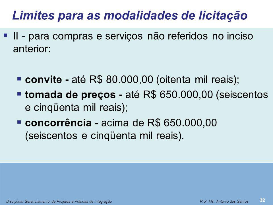 Limites para as modalidades de licitação  II - para compras e serviços não referidos no inciso anterior:  convite - até R$ 80.000,00 (oitenta mil re