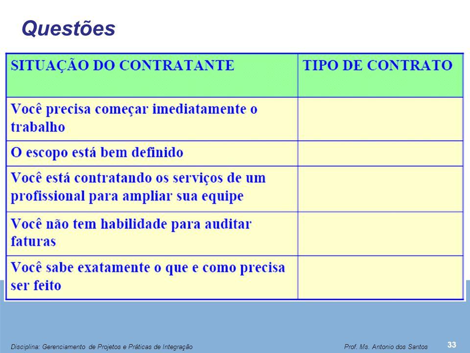 Questões 33 Disciplina: Gerenciamento de Projetos e Práticas de Integração Prof. Ms. Antonio dos Santos