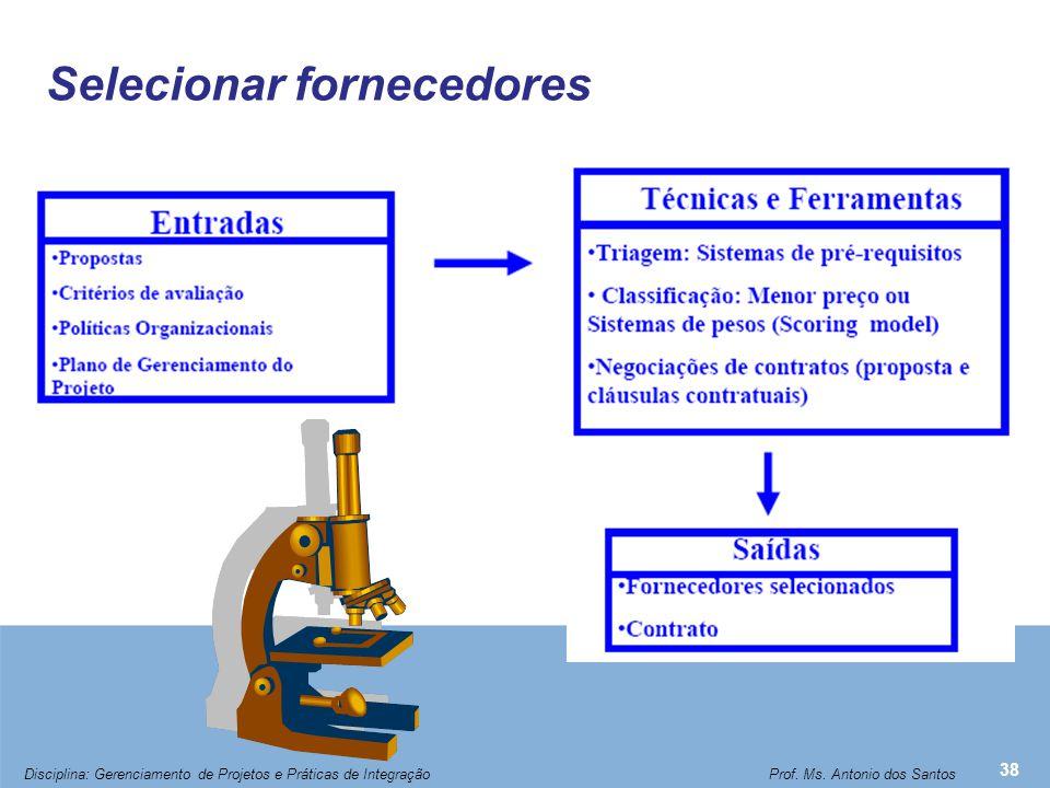 Selecionar fornecedores 38 Disciplina: Gerenciamento de Projetos e Práticas de Integração Prof. Ms. Antonio dos Santos