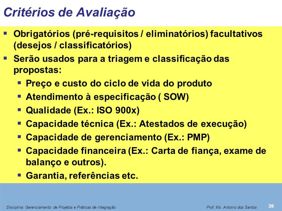 Critérios de Avaliação  Obrigatórios (pré-requisitos / eliminatórios) facultativos (desejos / classificatórios)  Serão usados para a triagem e class