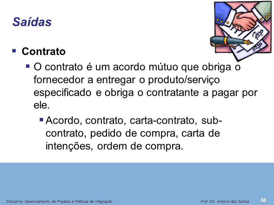 Saídas  Contrato  O contrato é um acordo mútuo que obriga o fornecedor a entregar o produto/serviço especificado e obriga o contratante a pagar por