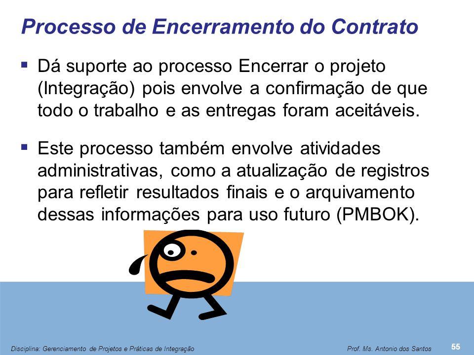 Processo de Encerramento do Contrato  Dá suporte ao processo Encerrar o projeto (Integração) pois envolve a confirmação de que todo o trabalho e as e
