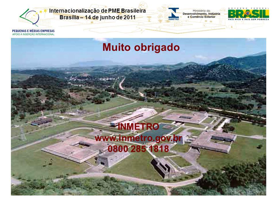 Internacionalização de PME Brasileira Brasília – 14 de junho de 2011 Muito obrigado INMETRO www.inmetro.gov.br 0800 285 1818