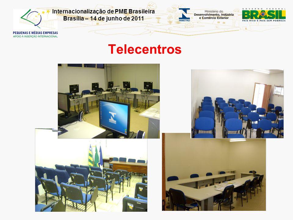 Internacionalização de PME Brasileira Brasília – 14 de junho de 2011 Telecentros