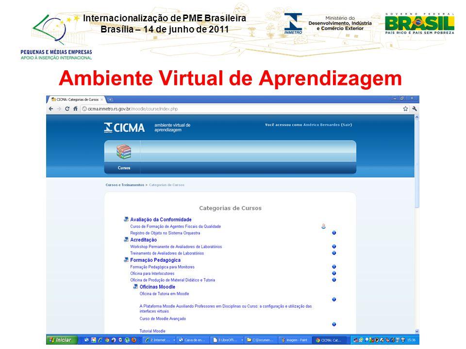 Internacionalização de PME Brasileira Brasília – 14 de junho de 2011 Ambiente Virtual de Aprendizagem