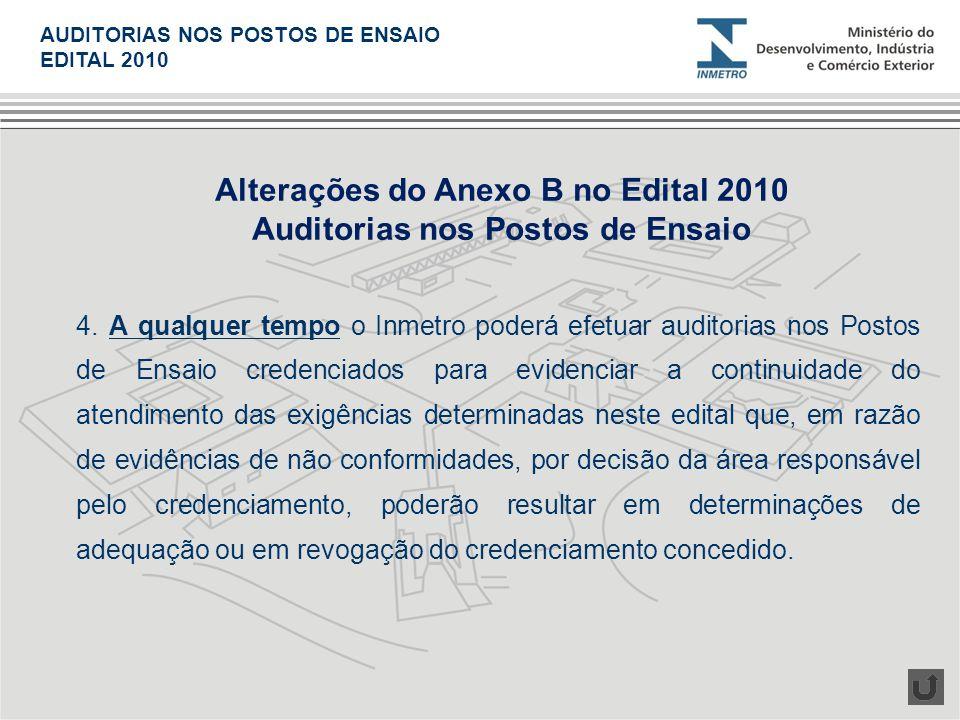 4. A qualquer tempo o Inmetro poderá efetuar auditorias nos Postos de Ensaio credenciados para evidenciar a continuidade do atendimento das exigências