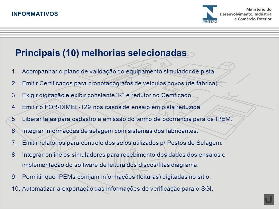 1.Acompanhar o plano de validação do equipamento simulador de pista. 2.Emitir Certificados para cronotacógrafos de veículos novos (de fábrica). 3.Exig