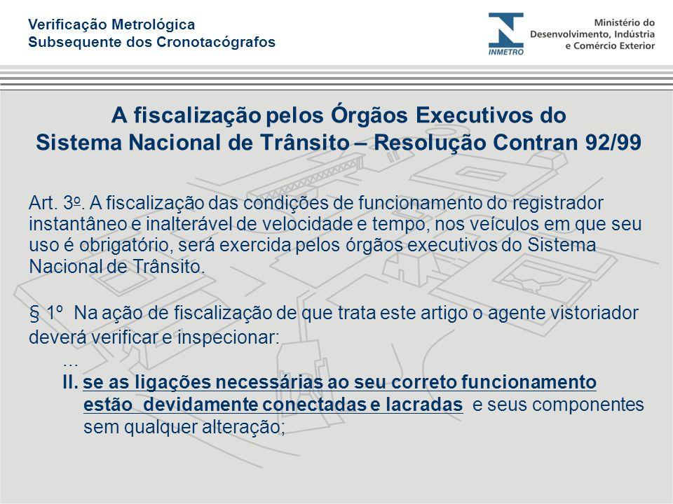 A fiscalização pelos Órgãos Executivos do Sistema Nacional de Trânsito – Resolução Contran 92/99 Art. 3 o. A fiscalização das condições de funcionamen
