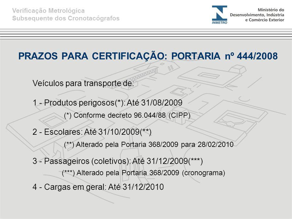 PRAZOS PARA CERTIFICAÇÃO: PORTARIA nº 444/2008 Verificação Metrológica Subsequente dos Cronotacógrafos Veículos para transporte de: 1 - Produtos perig