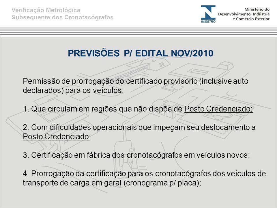PREVISÕES P/ EDITAL NOV/2010 Verificação Metrológica Subsequente dos Cronotacógrafos Permissão de prorrogação do certificado provisório (inclusive aut