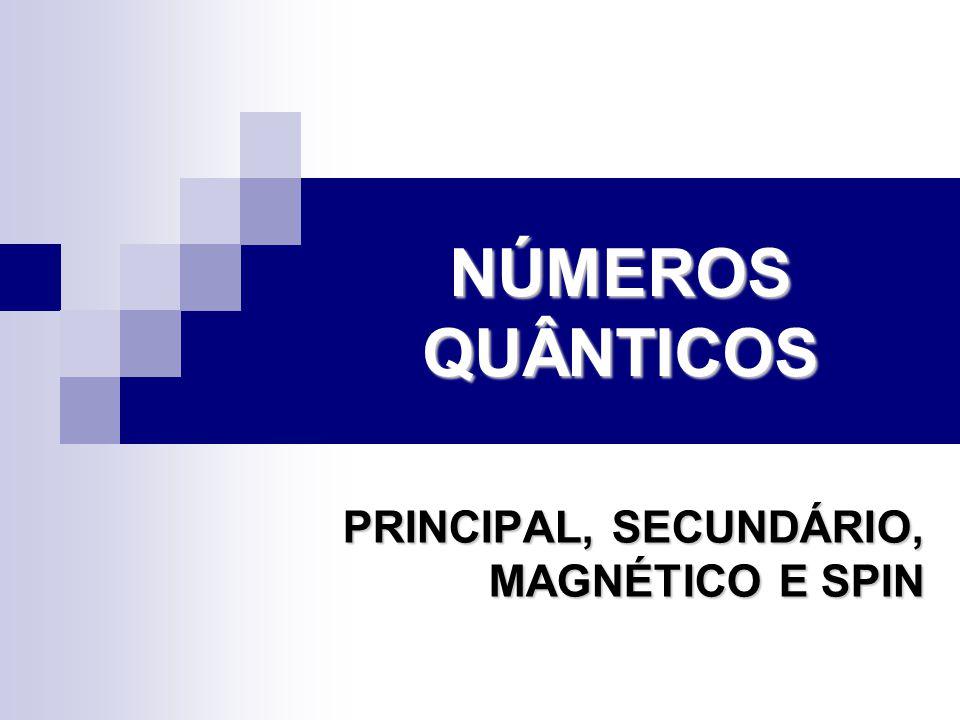 NÚMEROS QUÂNTICOS PRINCIPAL, SECUNDÁRIO, MAGNÉTICO E SPIN