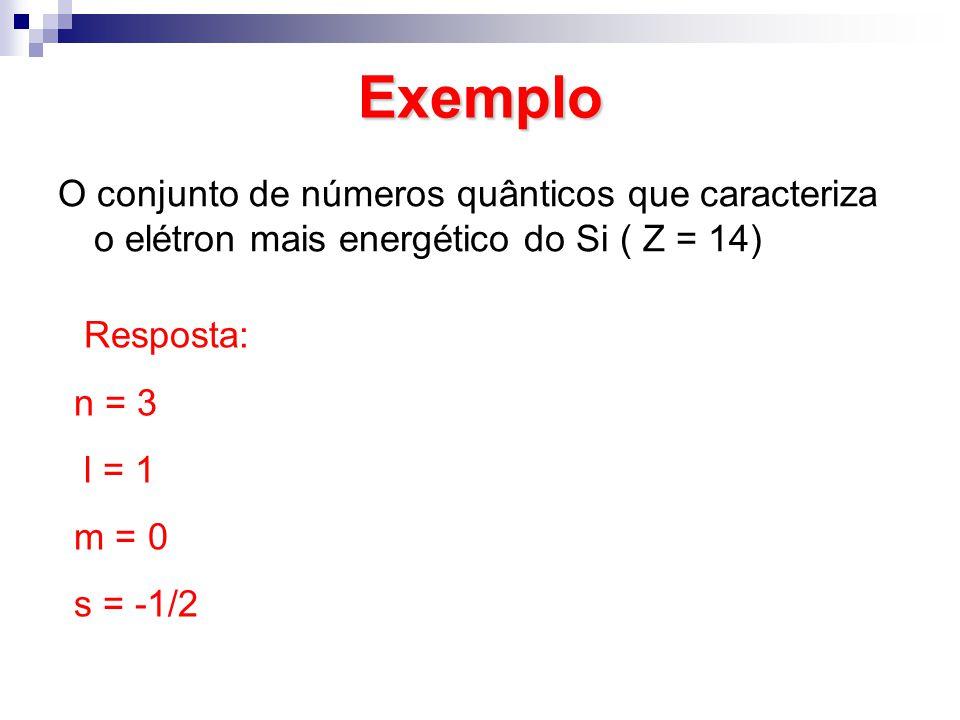 Exemplo O conjunto de números quânticos que caracteriza o elétron mais energético do Si ( Z = 14) Resposta: n = 3 l = 1 m = 0 s = -1/2