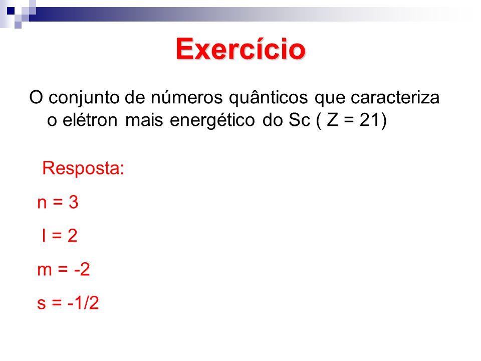 Exercício O conjunto de números quânticos que caracteriza o elétron mais energético do Sc ( Z = 21) Resposta: n = 3 l = 2 m = -2 s = -1/2