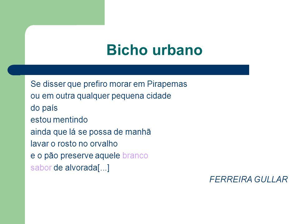 Bicho urbano Se disser que prefiro morar em Pirapemas ou em outra qualquer pequena cidade do país estou mentindo ainda que lá se possa de manhã lavar