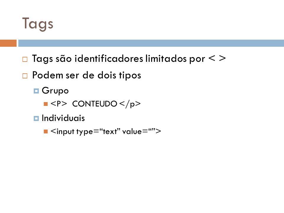 Tags  Podemos categorizar as tags em:  Tags de estrutura  Tags de formatação  Tags de objeto ou formulário