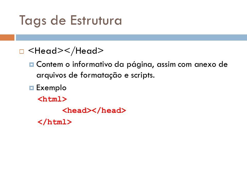 Tags de Estrutura   Configura o titulo da página e importante pois e utilizada pelos buscadores, fica contida dentro da tag  Exemplo Titulo da Página