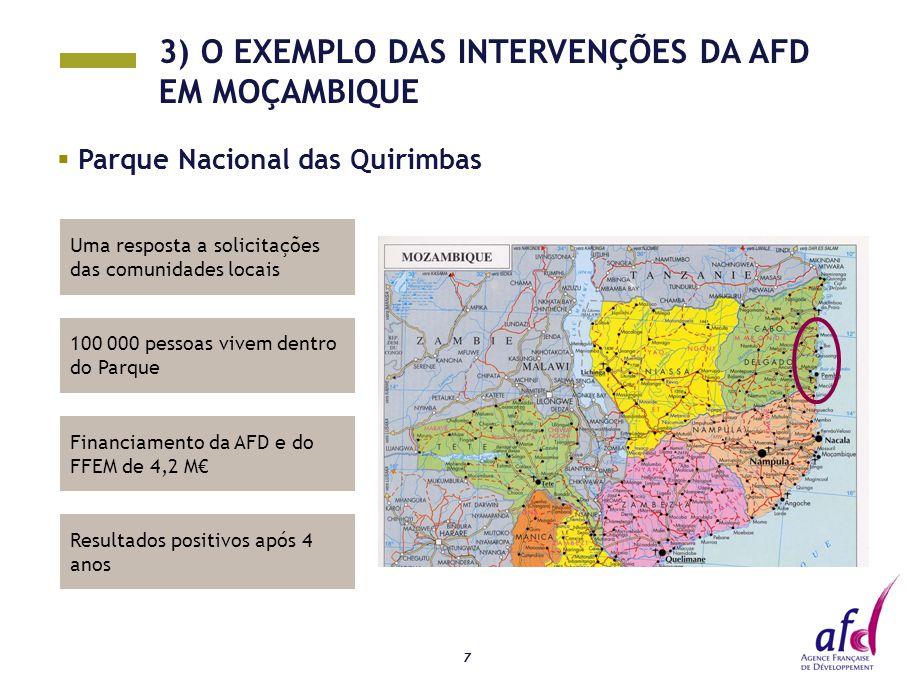 7 Uma resposta a solicitações das comunidades locais  Parque Nacional das Quirimbas 100 000 pessoas vivem dentro do Parque Financiamento da AFD e do FFEM de 4,2 M€ Resultados positivos após 4 anos