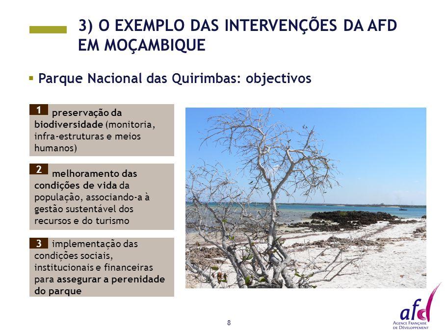 8  Parque Nacional das Quirimbas: objectivos Photos preservação da biodiversidade (monitoria, infra-estruturas e meios humanos) melhoramento das condições de vida da população, associando-a à gestão sustentável dos recursos e do turismo implementação das condições sociais, institucionais e financeiras para assegurar a perenidade do parque 3) O EXEMPLO DAS INTERVENÇÕES DA AFD EM MOÇAMBIQUE 1 2 3