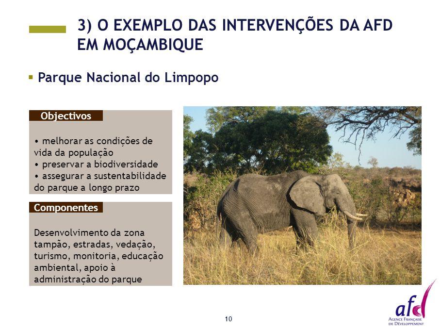 10  Parque Nacional do Limpopo melhorar as condições de vida da população preservar a biodiversidade assegurar a sustentabilidade do parque a longo prazo Objectivos 3) O EXEMPLO DAS INTERVENÇÕES DA AFD EM MOÇAMBIQUE Desenvolvimento da zona tampão, estradas, vedação, turismo, monitoria, educação ambiental, apoio à administração do parque Componentes