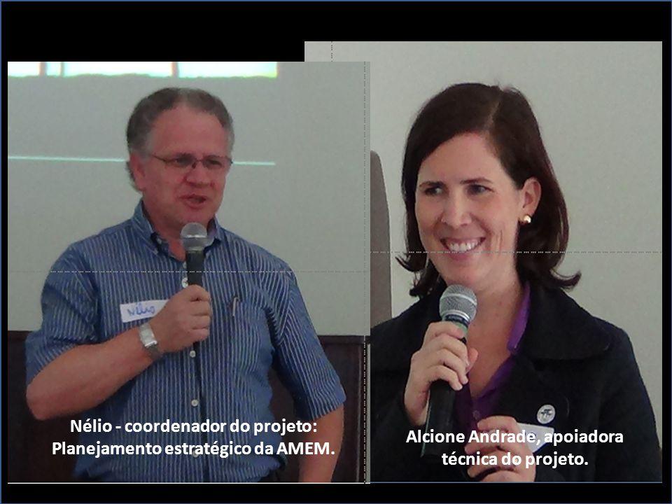 Nélio - coordenador do projeto: Planejamento estratégico da AMEM. Alcione Andrade, apoiadora técnica do projeto.