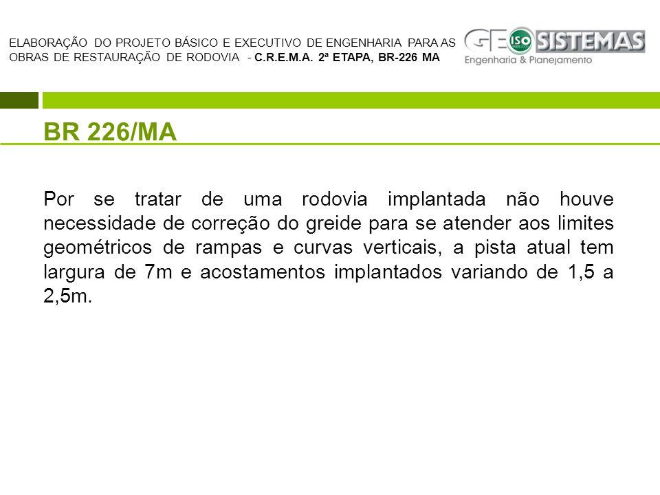 BR 226/MA Por se tratar de uma rodovia implantada não houve necessidade de correção do greide para se atender aos limites geométricos de rampas e curv