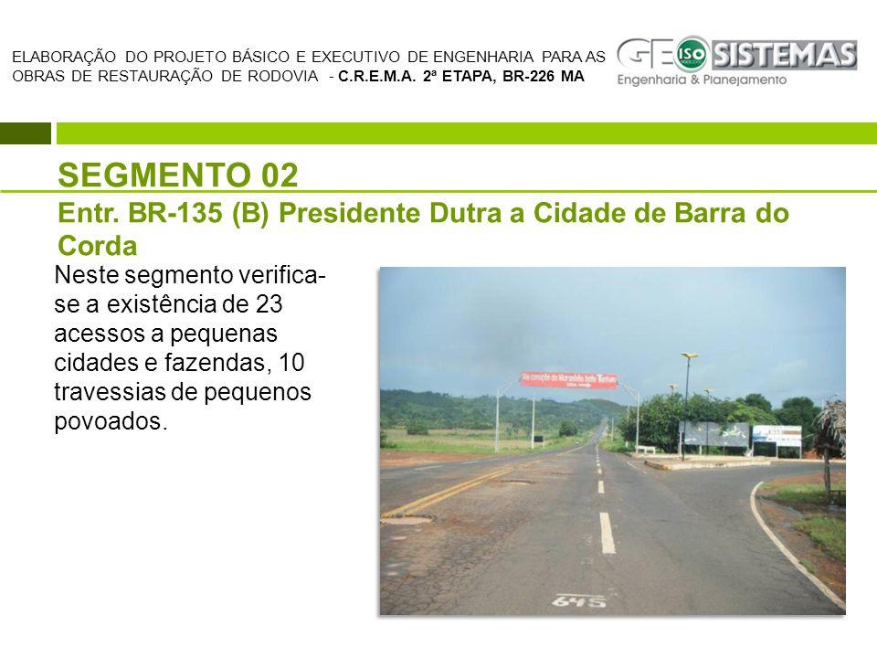 SEGMENTO 02 Entr. BR-135 (B) Presidente Dutra a Cidade de Barra do Corda ELABORAÇÃO DO PROJETO BÁSICO E EXECUTIVO DE ENGENHARIA PARA AS OBRAS DE RESTA