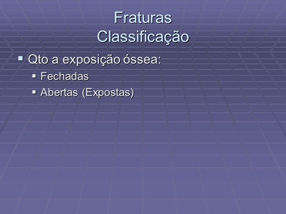 Fraturas Classificação  Qto a exposição óssea:  Fechadas  Abertas (Expostas)