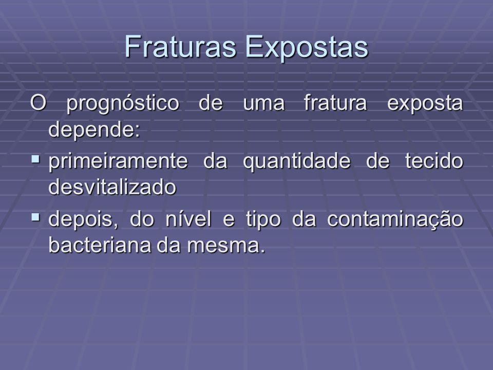 Fraturas Expostas O prognóstico de uma fratura exposta depende:  primeiramente da quantidade de tecido desvitalizado  depois, do nível e tipo da contaminação bacteriana da mesma.
