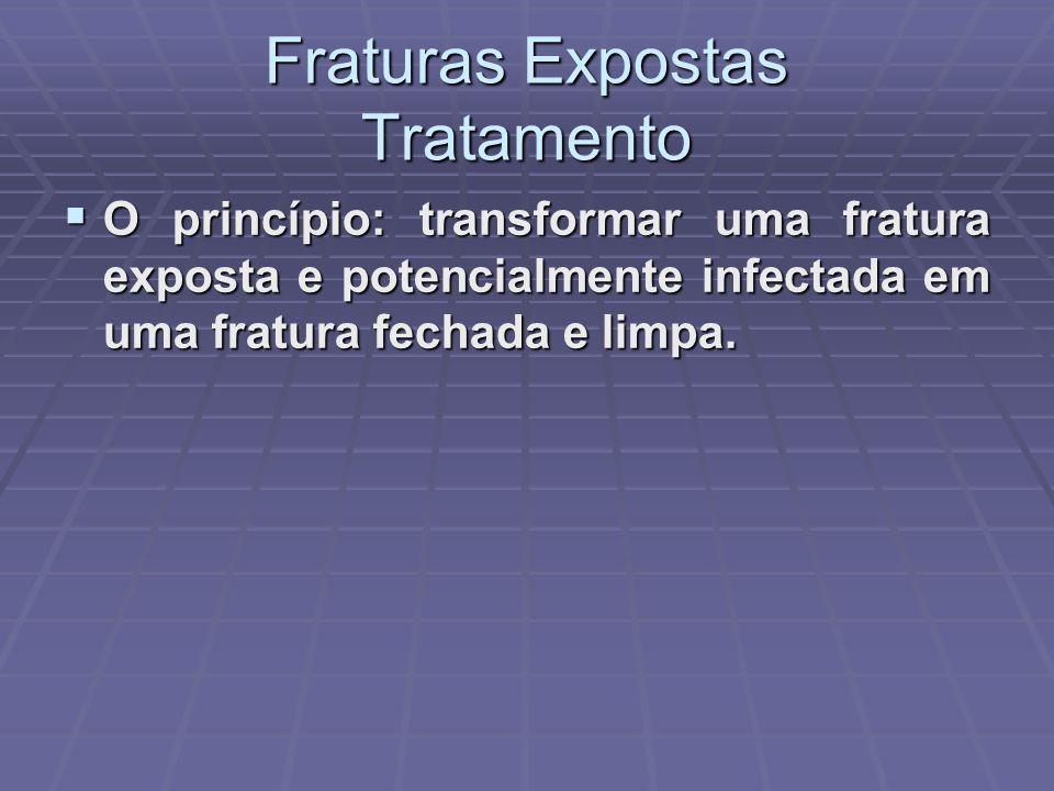 Fraturas Expostas Tratamento  O princípio: transformar uma fratura exposta e potencialmente infectada em uma fratura fechada e limpa.