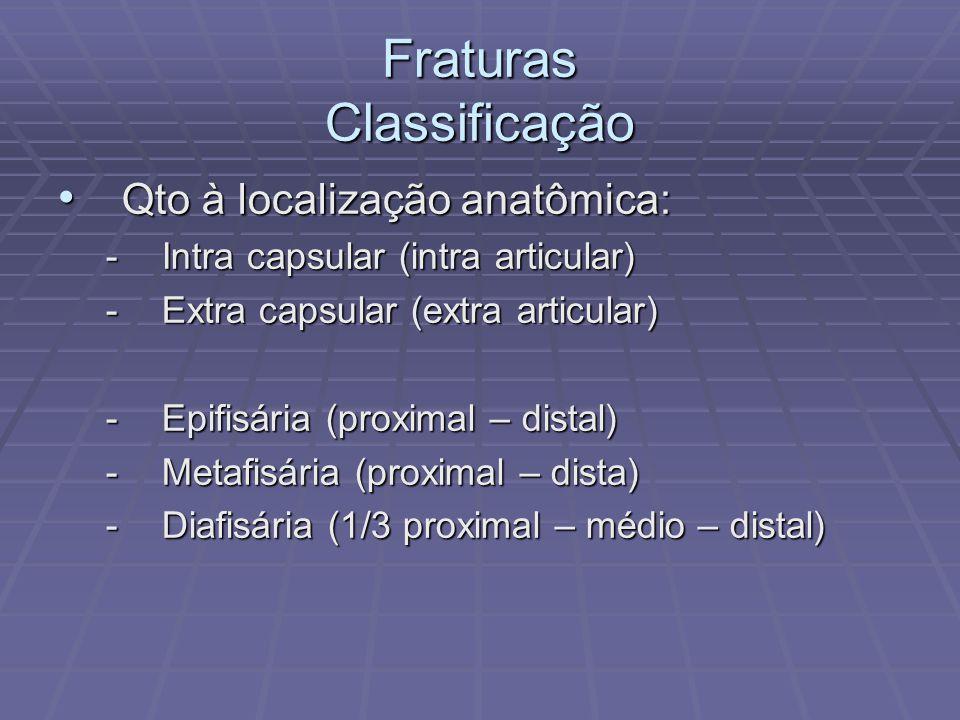 Fraturas Classificação Qto à localização anatômica: Qto à localização anatômica: -Intra capsular (intra articular) -Extra capsular (extra articular) -Epifisária (proximal – distal) -Metafisária (proximal – dista) -Diafisária (1/3 proximal – médio – distal)