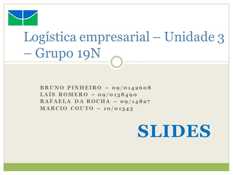 BRUNO PINHEIRO – 09/0142608 LAÍS ROMERO – 09/0138490 RAFAELA DA ROCHA – 09/14827 MARCIO COUTO – 10/01345 SLIDES Logística empresarial – Unidade 3 – Gr