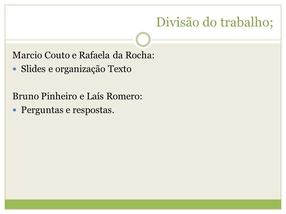 Divisão do trabalho; Marcio Couto e Rafaela da Rocha: Slides e organização Texto Bruno Pinheiro e Laís Romero: Perguntas e respostas.