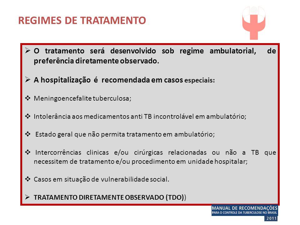  O tratamento será desenvolvido sob regime ambulatorial, de preferência diretamente observado.  A hospitalização é recomendada em casos especiais: 