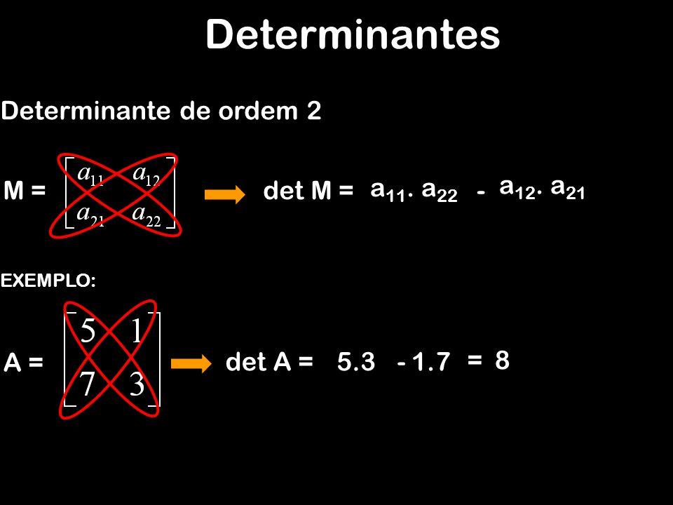 Determinantes Determinante de ordem 2 det M = EXEMPLO: A = det A =5.3 M = a 11. a 22 - a 12. a 21 1.7 =8 -
