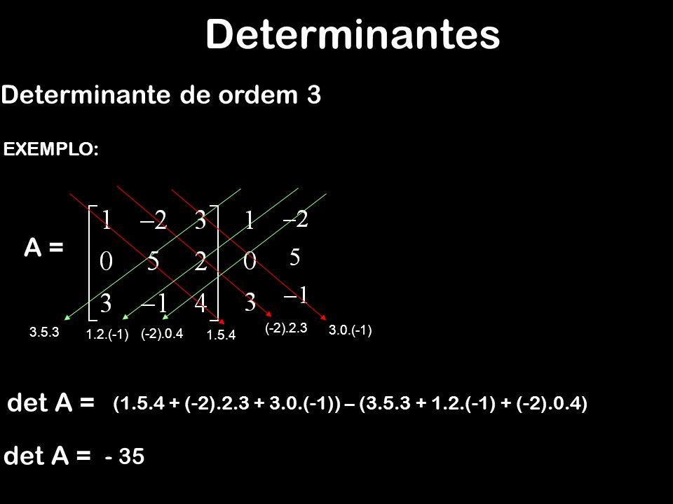 Determinantes Determinante de ordem 3 A = EXEMPLO: det A = (1.5.4 + (-2).2.3 + 3.0.(-1)) – (3.5.3 + 1.2.(-1) + (-2).0.4) 1.5.4 (-2).2.3 3.0.(-1) (-2).0.4 1.2.(-1) 3.5.3 - 35
