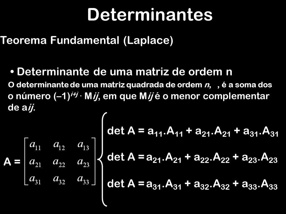 Determinantes Teorema Fundamental (Laplace) Determinante de uma matriz de ordem n O determinante de uma matriz quadrada de ordem n,, é a soma dos A =